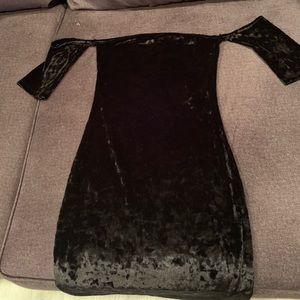 Off Shoulder Black Velvet Dress
